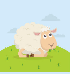 Cute sheep happy eat grass cartoon vector