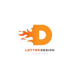 d letter flame logo design fire logo lettering vector image vector image