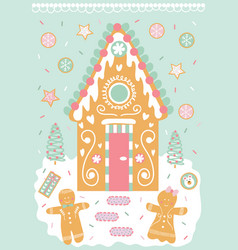 Decorated gingerbread house man and cookies in vector