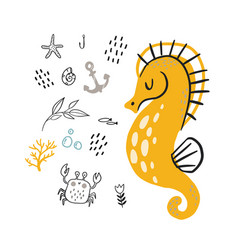doodle seahorse underwater life pattern a vector image