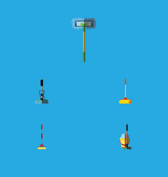 Flat icon mop set of besom mop broom and other vector