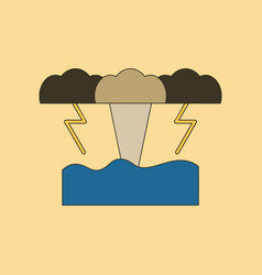 Flat icon on background nature tsunami vector