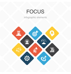 Focus infographic 10 option color designtarget vector