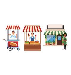 Food stands cartoon vector