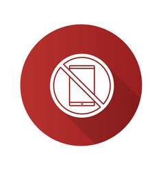 Forbidden sign with mobile phone flat design long vector