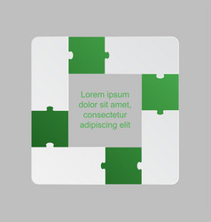 four green pieces puzzle infographic 4 steps vector image