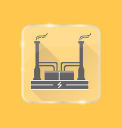 Geothermal power plant silhouette icon in flat vector