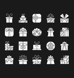 Gift white silhouette icons set vector