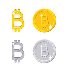 gold and silver bitcoins vector image