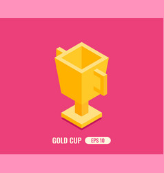 Gold cup in flat isometric 3d style vector