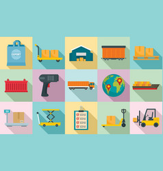 goods export icons set flat style vector image