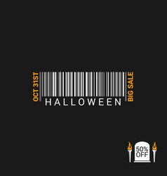 halloween sale bar code design background vector image