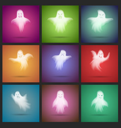 Halloween transparent white scary ghost template vector