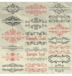 Hand Drawn Dividers Frames Swirls on Crumpled vector image