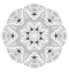 Hand drawn zentangle mandala for coloring page vector