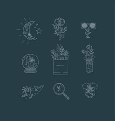 hand made floral icons nature dark blue vector image