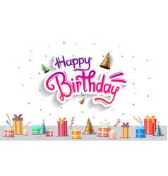Happy birthday typography purple color vector