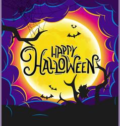 Happy halloween banner with calligraphic logo vector