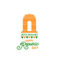 happy indian republic day banner with text vector image