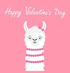 happy valentines day llama alpaca girl animal vector image