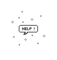 Help in speech bubble 8 bit pixel art vector