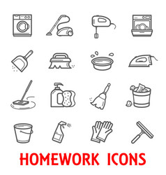 Homework and household thin line icons vector