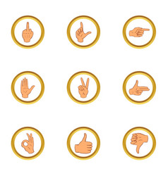 Human gesture icons set cartoon style vector
