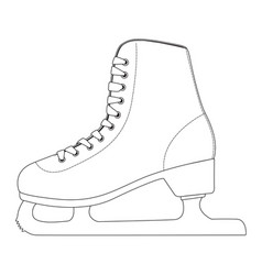 Ice skate outline drawing side view vector