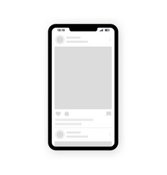 Interface post feed with smartphone social vector