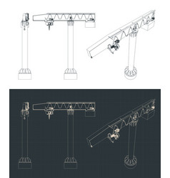 jib crane blueprints vector image
