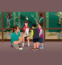 kids feeding bird vector image