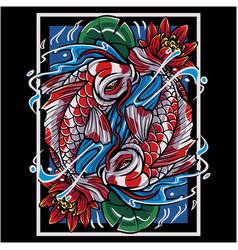 koi fish mascot logo design vector image