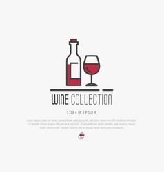 logotype wine and wine making modern thin line vector image