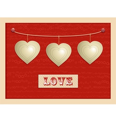 Love and hanging hearts background vector image