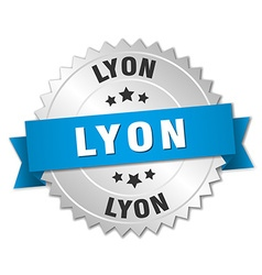 Lyon round silver badge with blue ribbon vector