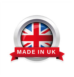 made in uk flag button badge vector image