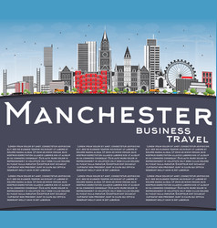 Manchester skyline with gray buildings blue sky vector
