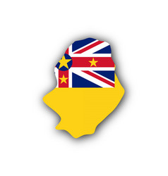 Map and flag of niue vector