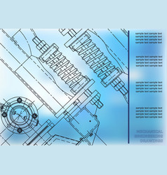 Mechanical engineering drawings cover label blue vector