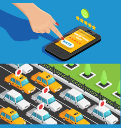 Mobile app taxi service isometric banners vector