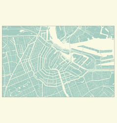 Modern amsterdam map in vintage style vector