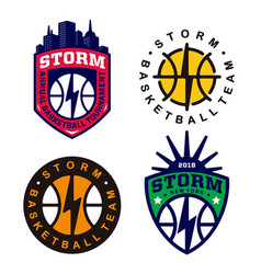 Modern professional basketball logo set for sport vector