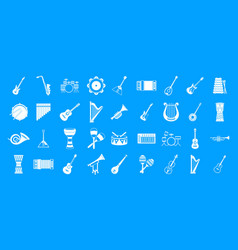 musical instrument icon blue set vector image