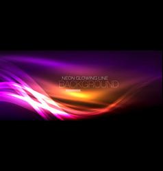 Neon purple elegant smooth wave lines digital vector