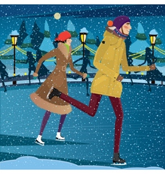 Night at the ice rink vector