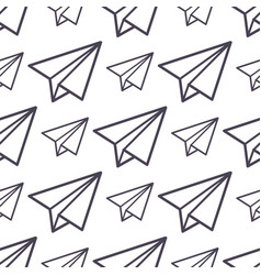 paper plane icon seamless pattern business vector image