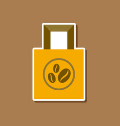 Paper sticker on stylish background coffee package vector