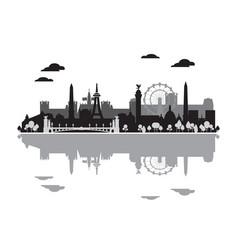 Paris skyline silhouette 5 vector