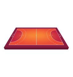 perspective view field for handball orange vector image