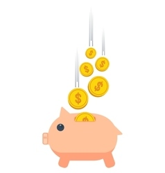 Piggy bank with money vector
